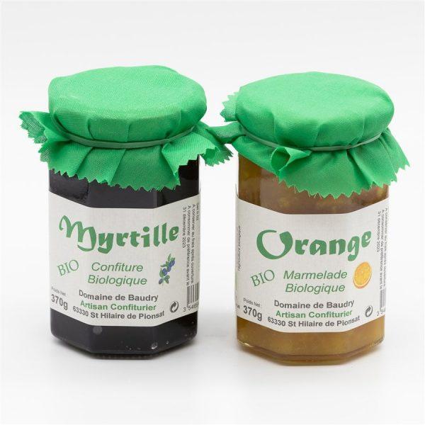 Duo Marmelade Bio Orange et Confiture bio Myrtille 2 x 370g