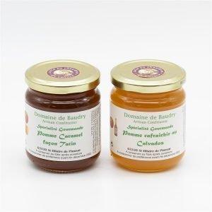 Duo Spécialité Gourmande Pomme Caramel Façon Tatin et Pomme rafraîchie au Calvados 2X 250g