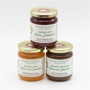Trio Confitures Poire-Framboise, Poire-Cannelle, Poire au chocolat 3 x 250g