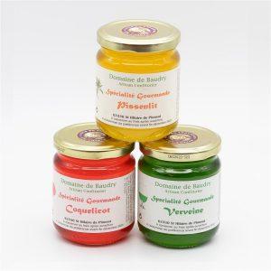 Trio Spécialités  Gourmandes Pétales de Fleurs Pissenlit Coquelicot Verveine 3 x 250g